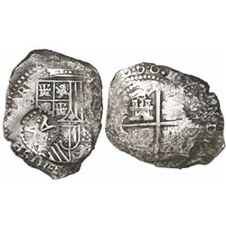 Potosi, Bolivia, cob 8 reales, (1)650(O) (variety with modern 5 and dots between digits), with crown