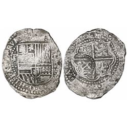 Potosi, Bolivia, cob 8 reales, (16)50O (dots between digits), with crowned-L countermark on cross.