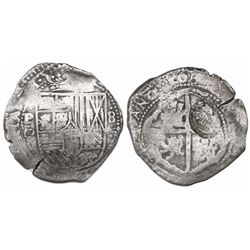 Potosi, Bolivia, cob 8 reales, 1650O (modern 5), with crowned-L countermark on cross.