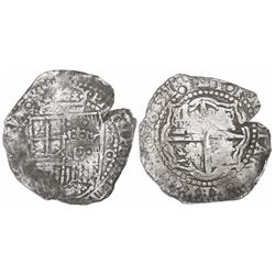 Potosi, Bolivia, cob 8 reales, 1651O, with crowned-dot-F-dot countermark (four dots) on shield.