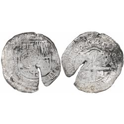Potosi, Bolivia, cob 8 reales, 1651E, with crowned-dot-F-dot countermark (two dots) on shield.