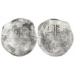 Potosi, Bolivia, cob 8 reales, (16)5(1-2)E, with crowned-L countermark on cross.
