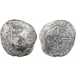 Potosi, Bolivia, cob 8 reales, 16(51-2)E, with crowned-PH countermark (rare) on cross.
