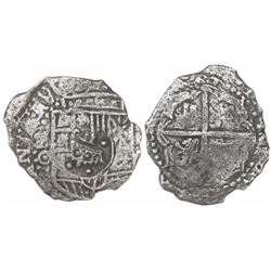 Potosi, Bolivia, cob 4 reales, (1650-1)O, with crowned-dot-F-dot (four dots) countermark on shield.