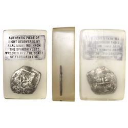Mexico City, Mexico, cob 8 reales, Philip V, assayer not visible, encased in Lucite.