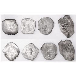 Lot of four Mexico City, Mexico, cob 8 reales, Philip V, assayer not visible (J).