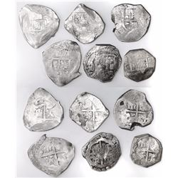 Lot of six Seville, Spain, cob 8 reales, Philip IV and Charles II, assayers not visible.