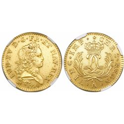 France (Paris mint), gold louis d'or, Louis XV, 1724-A, encapsulated NGC AU details / saltwater dama
