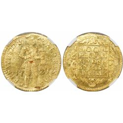 Westfriesland, United Netherlands, gold ducat, 1729, encapsulated NGC MS 63.