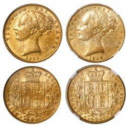 Lot of two Great Britain gold sovereigns of Victoria (young head), 1860 and 1863 (no die number), en