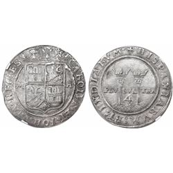 """Mexico City, Mexico, 4 reales, Charles-Joanna, """"Late Series,"""" assayer A to right, mintmark M to left"""