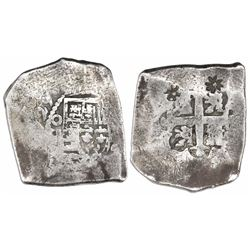 Mexico City, Mexico, cob 8 reales, (1)729(R), with two flower countermarks (Madura Island, 1 real ba
