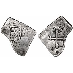 Mexico City, Mexico, cob 4 reales, Charles II, assayer not visible, with two small chopmarks on cros