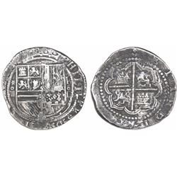 Lima, Peru, cob 4 reales, Philip II, assayer Diego de la Torre, *-oiiii to left and P-oD to right, r
