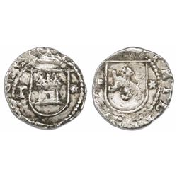 Lima, Peru, cob 1/4 real, Philip II, assayer Diego de la Torre, P to left, * to right of castle and