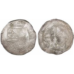 Potosi, Bolivia, cob 8 reales, Philip II, assayer B (2nd period).