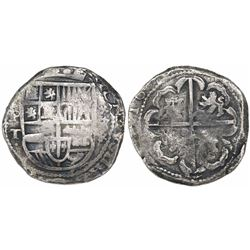 Potosi, Bolivia, cob 8 reales, 1630T, variety with P-dot-T-dot and St. Andrews-cross ornaments above