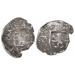 Potosi, Bolivia, cob 1/4 real, Philip II, assayer L to right (first period), mintmark P to left, rar