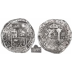 Potosi, Bolivia, cob 8 reales Royal, 1652E Transitional Type I/A, very rare, with crowned-600 counte