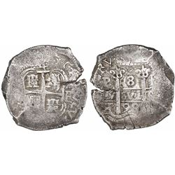 Potosi, Bolivia, cob 8 reales, 1698F, cross side struck from 4R die (4 above cross), unique.