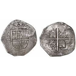 Seville, Spain, cob 8 reales, (15)90 date to right, assayer Gothic D below mintmark and denomination