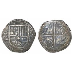 Granada, Spain, cob 4 reales, 1595 date to left, assayer F above denomination o-IIII and mintmark G