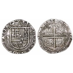 Seville, Spain, cob 4 reales, Philip II, assayer Gothic D at 4 o'clock outside tressure on reverse,