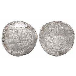 Toledo, Spain, cob 4 reales, 1593 date to right, assayer C below mintmark oT and above denomination