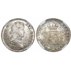 Potosi, Bolivia, bust 1 real, Ferdinand VII, 1825/3JL, encapsulated NGC MS 64 with silver WINGS stic