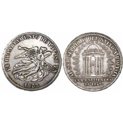 Potosi, Bolivia, 8 soles-sized silver proclamation medal, 1852.