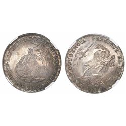 Potosi, Bolivia, 2 soles-sized silver proclamation medal, 1852, Belzu, encapsulated NGC MS 64, fines