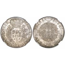 Brazil (Rio mint), 960 reis, Joao VI, 1819-R, struck over a Spanish colonial bust 8R, encapsulated N