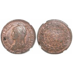 France (Metz mint), copper 1 decime, L'An 8-AA (1799-1800), encapsulated NGC MS 62 RB, finest and on