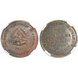 Paris, France, Bank of the People, copper 1/5 decime token, 1848, encapsulated NGC MS 63 BN.