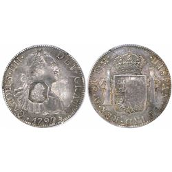 Great Britain, 1 dollar, rectangular George III countermark (1797-99) on a Mexico bust 8 reales, Cha