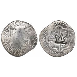 """Guatemala, """"moclon"""" 2 reales, rare Type-C crown countermark (1662) on cross side of a Lima, Peru, co"""