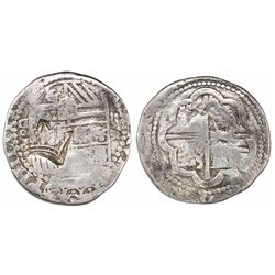 """Guatemala, """"moclon"""" 2 reales, crown countermark (1662) on a shield side of a Lima, Peru, cob 2 reale"""