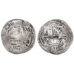 """Guatemala, """"moclon"""" 2 reales, with crown countermark (1662) on cross side of a Potosi, Bolivia, cob"""