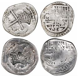 """Lot of two Guatemala, """"moclon"""" 2 reales, with crown countermarks (1662) on cross sides of Potosi, Bo"""
