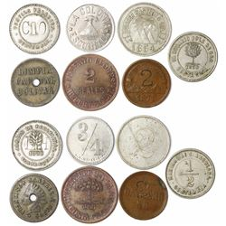 Lot of seven Guatemala tokens in brass, copper or copper-nickel, late 1800s.