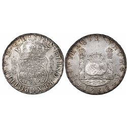 Mexico City, Mexico, pillar 8 reales, Philip V, 1738MF, recut 73 in date.