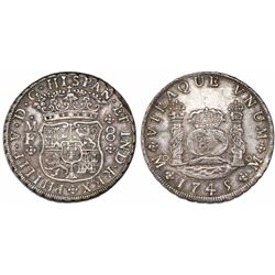 Mexico City, Mexico, pillar 8 reales, Philip V, 1745MF, recut 45.