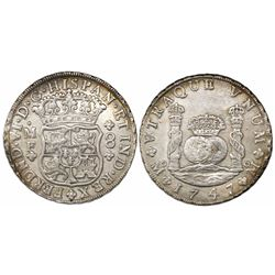 Mexico City, Mexico, pillar 8 reales, Ferdinand VI, 1747MF.