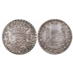 Mexico City, Mexico, pillar 8 reales, Ferdinand VI, 1748/7MF.
