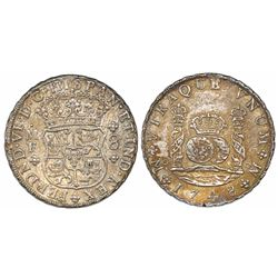 Mexico City, Mexico, pillar 8 reales, Ferdinand VI, 1748MF.