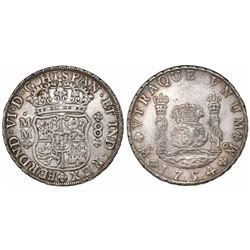 Mexico City, Mexico, pillar 8 reales, Ferdinand VI, 1754MM, dissimilar crowns.