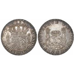 Mexico City, Mexico, pillar 8 reales, Ferdinand VI, 1757MM.