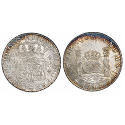 Mexico City, Mexico, pillar 8 reales, Charles III, 1765MF.