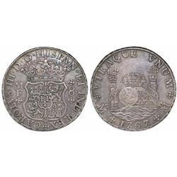 Mexico City, Mexico, pillar 8 reales, Charles III, 1767MF.