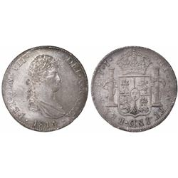 Mexico City, Mexico, bust 8 reales, Ferdinand VII, 1814/3JJ.